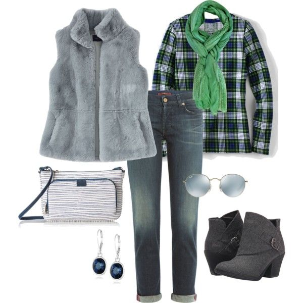 Faux Fur Vest with Plaid  featuring Lands' End, 7 For All Mankind, Blowfish, Anne Klein and Ray-Ban