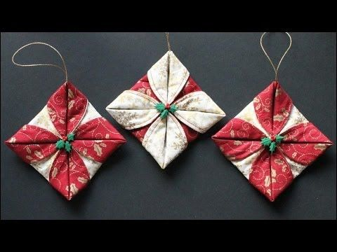 Folded Christmas Ornaments-small cording sewn between the circles would dress it up even more.