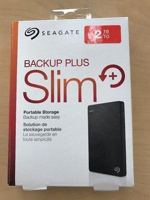 ﹩67.95. New Seagate Backup Plus Slim 2TB Portable External Hard Drive HDD PC/Mac (Black)    Type - Portable External HDD, Storage Capacity - 2TB, Color - Black, UPC - 0763649052877