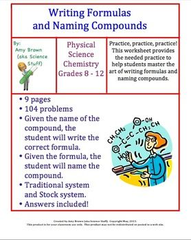 Writing Formulas and Naming Compounds Homework. This is a homework assignment where students will practice writing chemical formulas and naming compounds. There is a total of 104 problems on this worksheet.
