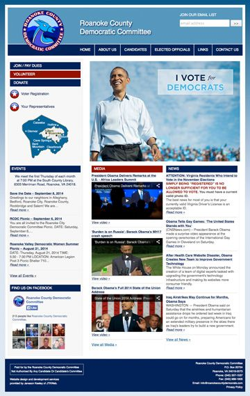 Custom WordPress site with post-in-sidebar and post-in-page functionality for the Roanoke County (VA) Democratic Committee. Visit the site at http://roanokecountydemocrats.com/.