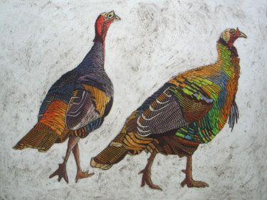 Out for a Stroll - Wild Turkey Collagraph