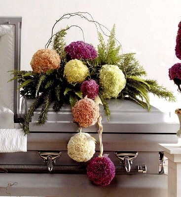 whimsical and creative casket spray