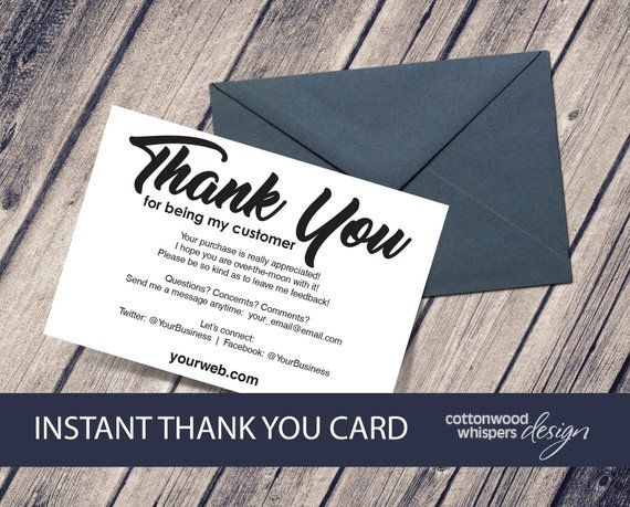 Instant Reseller Thank You Cards Editable Pdf Purchase Thank Etsy In 2021 Business Thank You Cards Thank You Cards Thanks Card