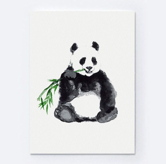 Panda Watercolor Animal Print Bear Painting Animals Art Poster