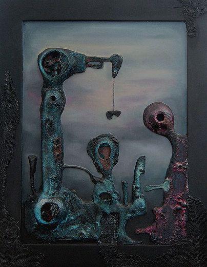 DÁVNÉ STROJE I. LANGSYNE MACHINES I. – strukturální reliéfní olejomalba, kombinovaná technika - structural relief oil painting, mixed media 63 x 80 cm 2013