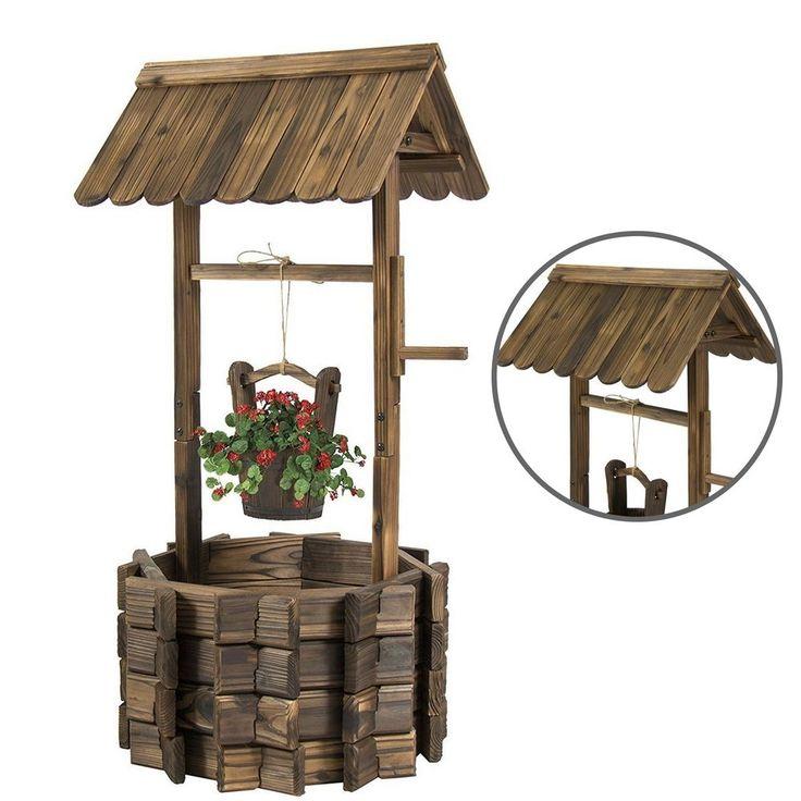 Durable Wooden Wishing Well Bucket Flower Old Fashion Design Patio Decorative #WishingWell