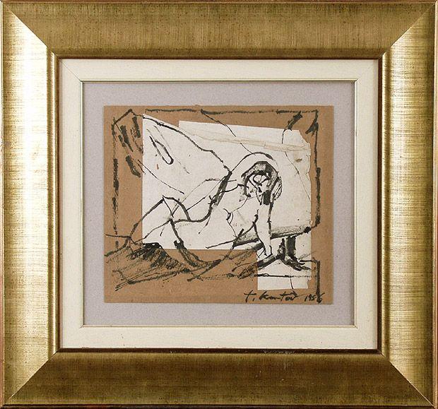 Modelka, 1956  Autor:Kantor Tadeusz (1915 - 1990) Rozmiary:24 x 27.7 cm Technika:tusz, patyk, papier biały nakl. na tekturę Opis:sygn. p.d.: t. kantor 1956