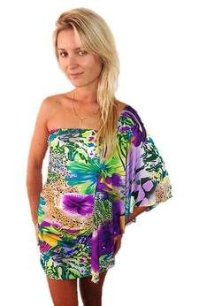 Tropical dress with butterfly sleeve