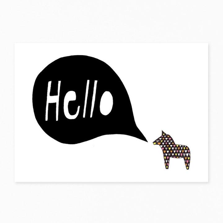 Hello Dala Postcard by seventytree on Etsy, £1.50