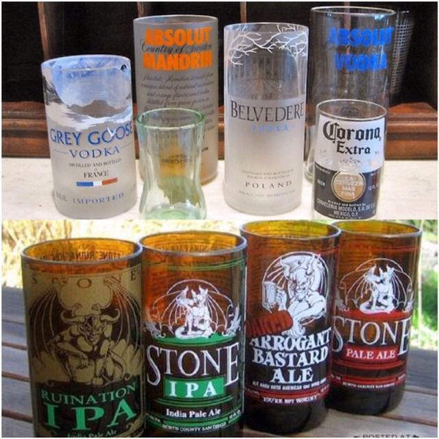 Make Your Own Inexpensive Drinking Glasses From Beer Or Alcohol Bottles