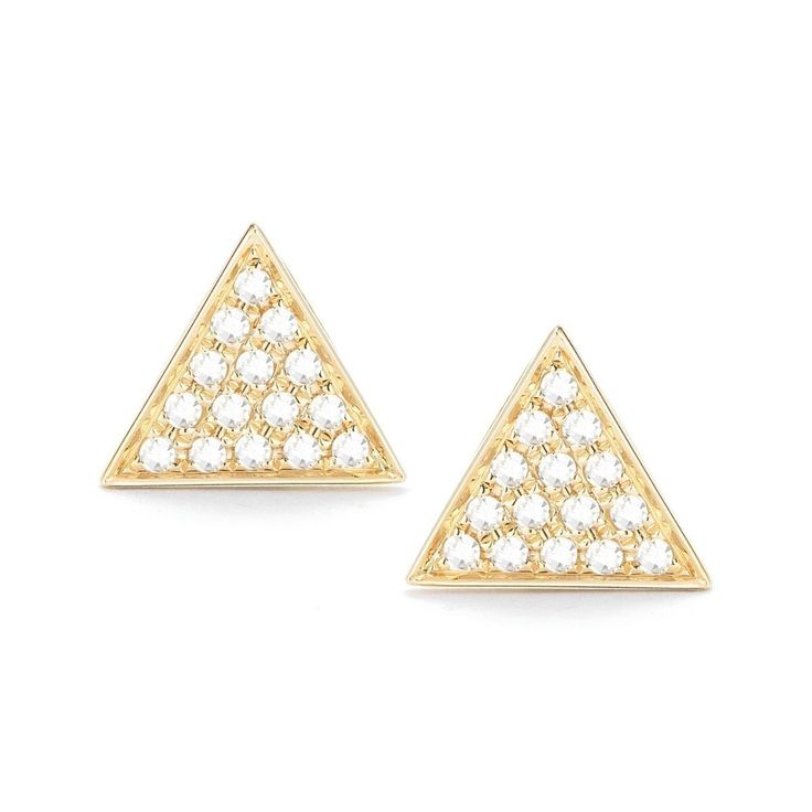 "Dana Rebecca ""Emily Sarah"" Triangle Earrings in Yellow Gold"