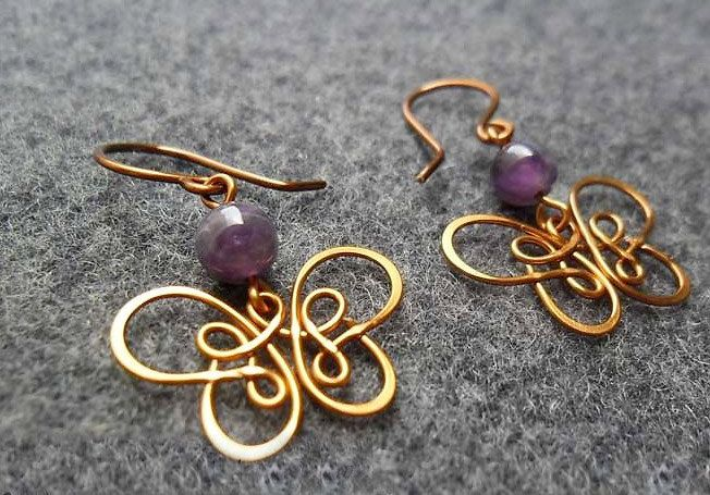 Copper earring copper wire buterfly with purple by MakeMeStyle, $13.00