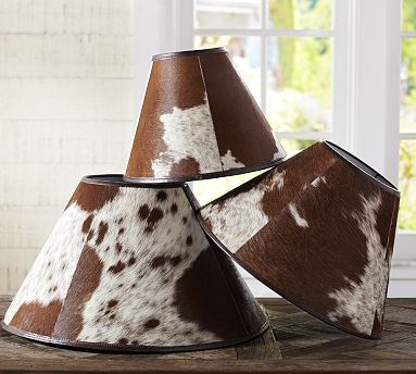 PB Basic Cowhide Lamp Shade #potterybarn  @Kelly Pacchioli   I could totally see you rocking this in your house :) bahaha