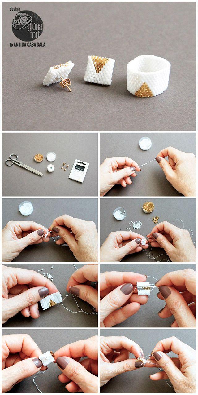 Aprende la técnica del tejido de cuentas con este moderno conjunto de anillo y pendientes | Manualidades