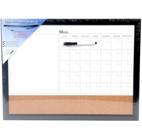 Tableau blanc magnétique mensuel avec babillard et crayon 45x60 cm