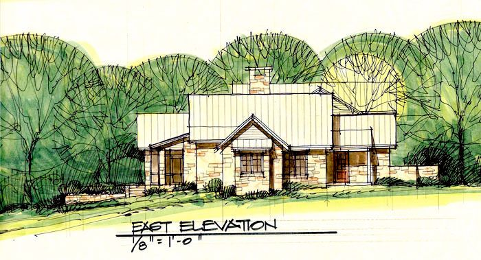 Conceptual design for ranch home in texas hill country by for Hill country ranch home plans