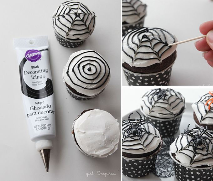 Love this idea from TheGirlInspired.com -- Easy and cute DIY Spider Web Cupcakes for Halloween!