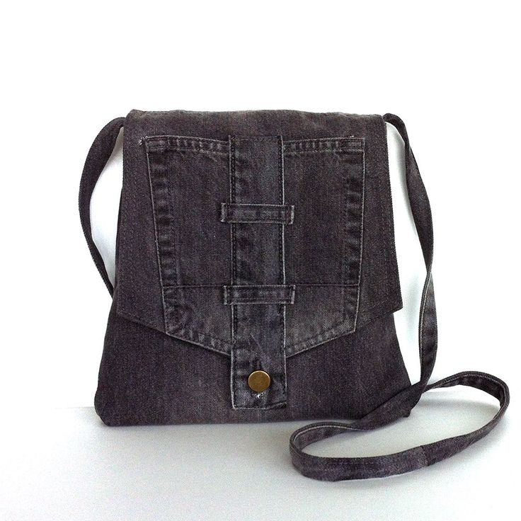 Small crossbody bag Recycled gray jean messenger bag by Sisoibags