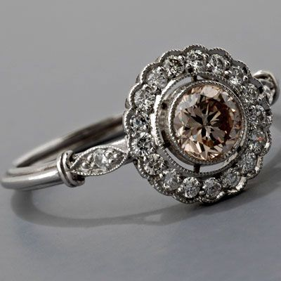 All I can say is WOW!!! Antique Art Deco Style Platinum .45ct Light Cognac Diamond Cluster Engagement Ring