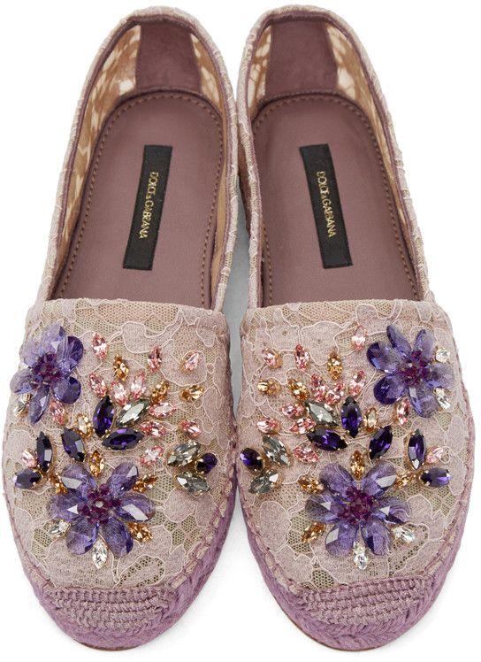 Dolce & Gabbana - Purple Embellished Lace Espadrilles                                                                                                                                                                                 More
