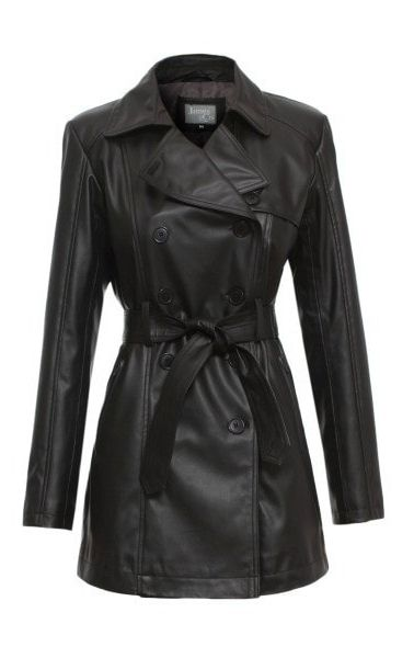 *Available Australia only The 'Maureen' women's vegan leather trench coat is strong yet dainty, stylish yet 'look-at-me'.  A faux leather coat with dramatic stand-out lapel for an eye-catching look. Every woman should own a #vegan leather trench coat.