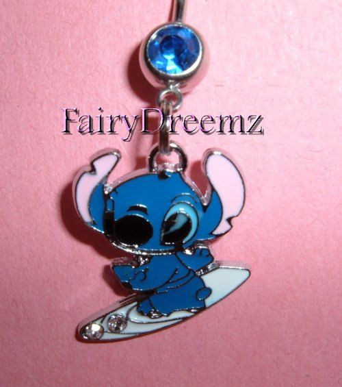 Stitch on SURF BOARD From Lilo and Stitch.Disney Belly Navel Ring Body Jewelry