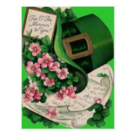 Shamrock Flower Leprechaun Hat Sheet Music Postcard - click to get yours right now!