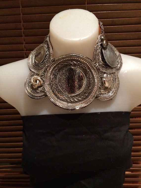 MIRROR EDGE silver tone  statement bib collage collar necklace; silver chains and charms