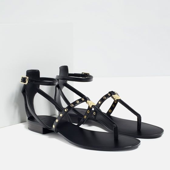 Image 7 of FLAT STUDDED SANDALS from Zara