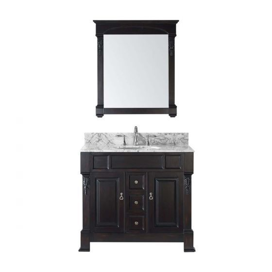 "40"" Huntshire Single Bathroom Vanity in Dark Walnut with Marble Top"