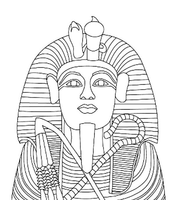 King tutankhamen 39 s gold coffin coloring page egypt theme for King tut mask template