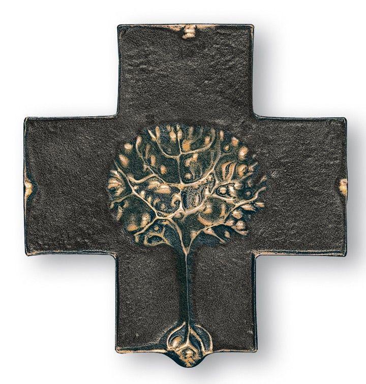 Taufkreuz Lebensbaum 18 cm Bronze Wandkreuz 001