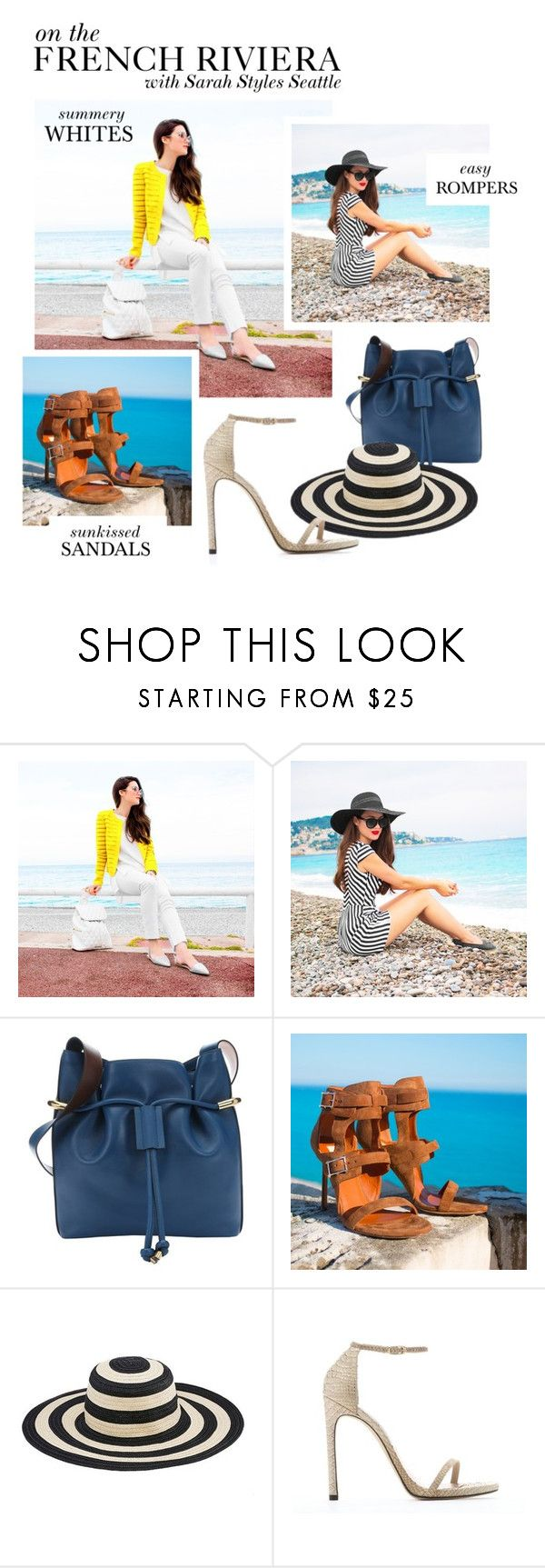 """""""On The French Riviera with Sarah Butler"""" by bluefly ❤ liked on Polyvore featuring James Jeans, Ivy + Blu, Chloé, San Diego Hat Co. and Stuart Weitzman"""
