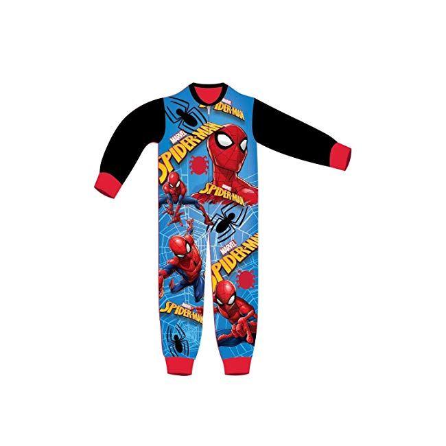 Spiderman Kids All in One Boys Girls Childrens Fleece Onesie Sleepsuit Pyjamas