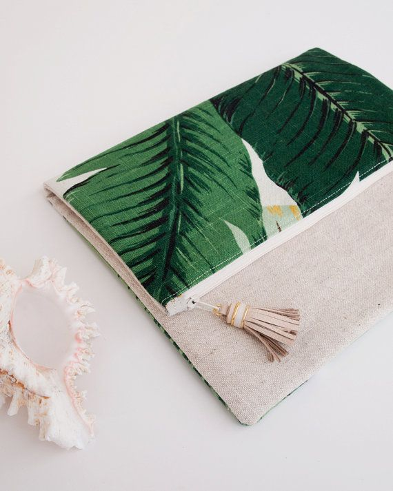 Linen iPad Sleeve Foldover Clutch Purse Palm by theAtlanticOcean