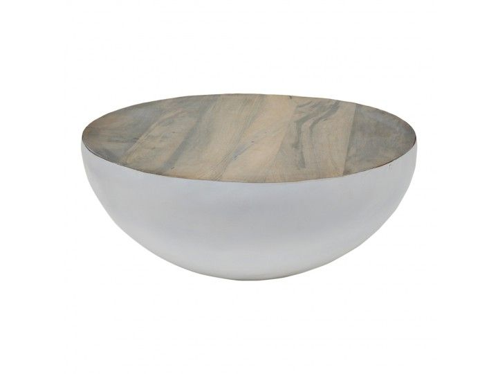 Bowl table 70cm white metal - grey wood