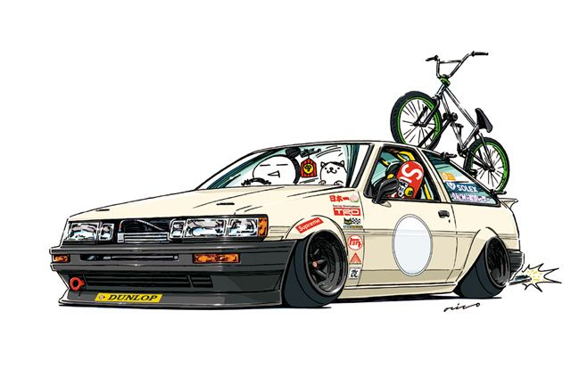 "CRAZY CAR ART ""AE86 LEVIN"" Drawn by order of Mr. Niemi original characters ""mame mame rock"" / © ozizo Official web shop ""STAY CRAZY (in Society6)"" Official web shop ""ozizo(in Redbubble)"" ""Crazy Car Art"" Line stickers ""Crazy car Art"" Telegram stickers"