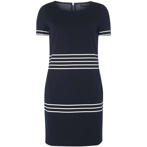 Dorothy Perkins **Vila Navy Stripe Dress (£35) ❤ liked on Polyvore featuring dresses, blue, striped dress, navy stripe dress, blue striped dress, navy striped dress and blue jersey dress