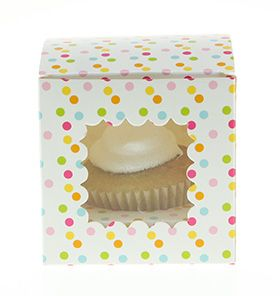 6 Sambellina Polka-dot Rainbow Coloured Cupcake Boxes - included in Baby Shower Party Pack $115.00 www.strawberry-fizz.com.au