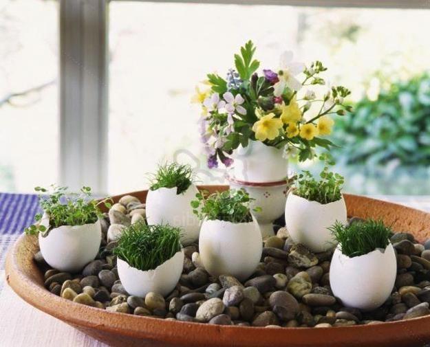 recyklace vaječných skořápek pro stolní dekorace a květinové vrcholy