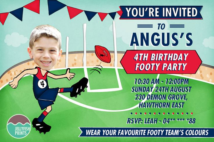 AFL party photo invitations with the Melbourne Demons colours. great for a kids footy birthday party - or maybe an adults as well. http://www.jellyfishprints.com.au/product/afl-birthday-invitations/