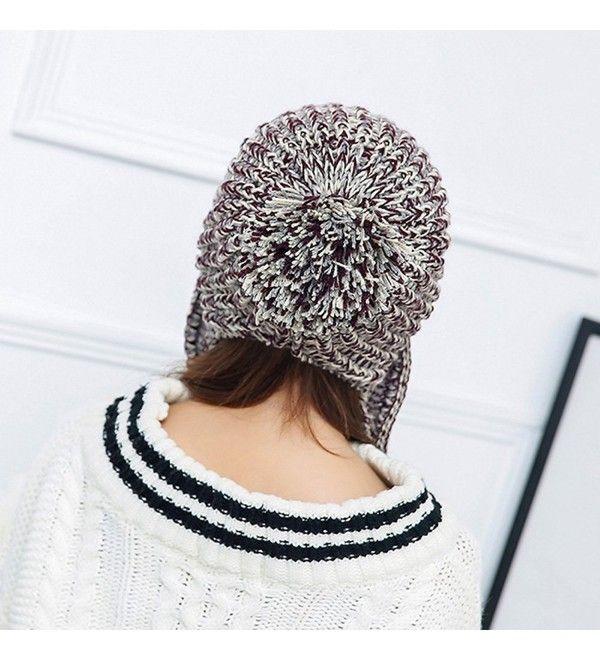 0b24295a00add Women Winter Thick Beanie Hat Ski Ear Flaps Caps Dual Layered Beige ...
