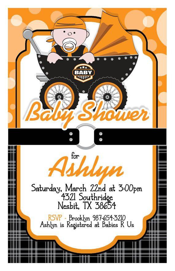 Custom Biker Baby Shower Invitation in Orange by MacysandBaileys