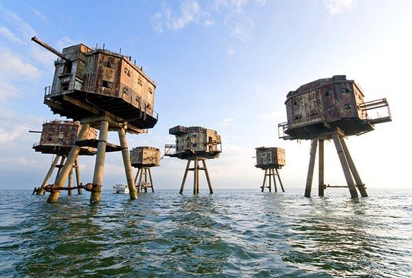 Would you visit?! - WWll Maunsell Sea Forts in the North Sea of England. These were designed to protect England from a potential Nazi invasion during WWII. - #travel #freakyearth #northsea