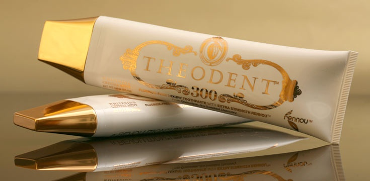 Love the luxury-chocolate packaging on this Theodent Chocolate Toothpaste. It's made with cocoa extract, although it's not chocolate flavored. Not, yet, anyway!