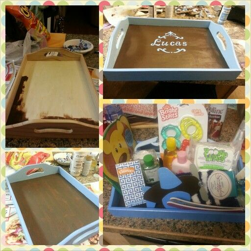 baby shower gift idea wooden tray paint and stencils from hobby