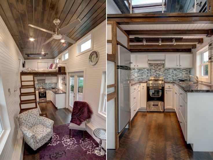 "A 304 sq ft tiny house, named ""Freedom"", by Alabama Tiny Homes."