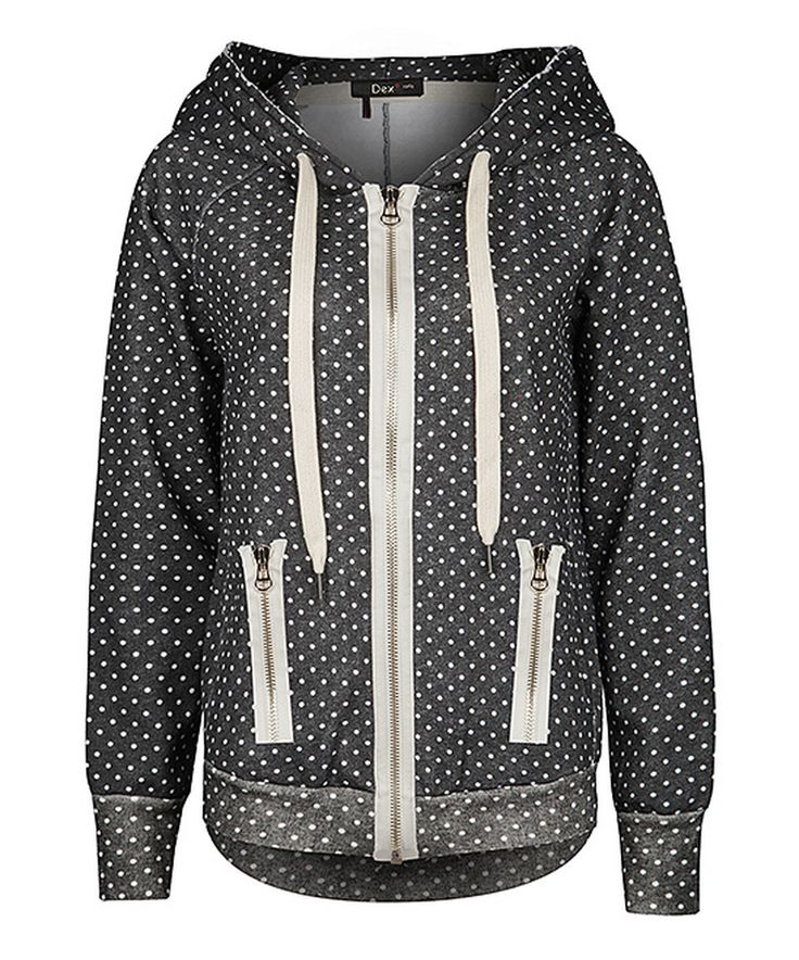 Love this Charcoal & Ivory Polka Dot Zip-Up Hoodie by Dex on #zulily! #zulilyfinds