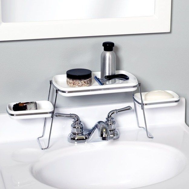 This shelf keeps the area around your sink tidy. | 42 Storage Ideas That Will Organize Your Entire House